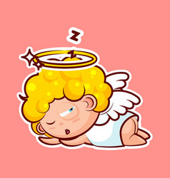 sticker emoji emoticon emotion sleep on stomach vector image