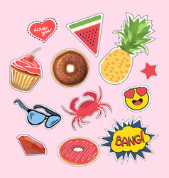stickers and patches set vector image