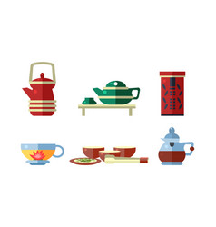 tea ceremony accessories set teapot tea cups vector image