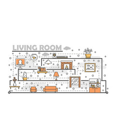 Thin line art living room poster banner vector