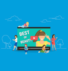 Trend bloger video streaming isolated on blue vector
