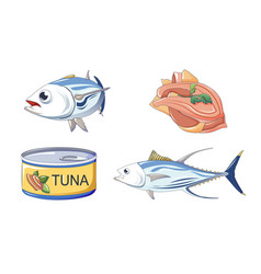 Tuna fish icons set cartoon style vector