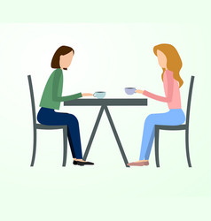 Two beautiful friends women talking friendly vector