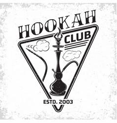 Vintage hookah emblem vector