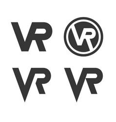 virtual reality logo icon set on white background vector image