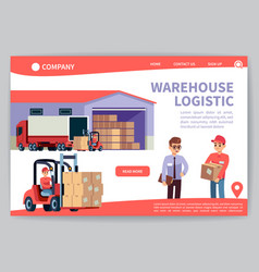 Warehouse landing warehousing logistics service vector