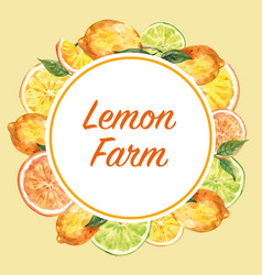 Wreath design with lemon frame creative yellow vector