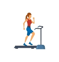 Young adult woman running on treadmill in fitness vector