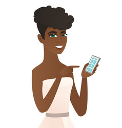Young african fiancee holding a mobile phone vector