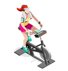 Exercise Bike Spinning Gym Class Isometric Image vector image