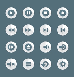 flat style various media player icons set vector image
