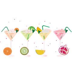 fruits fresh cocktail glasses set summer drinks vector image