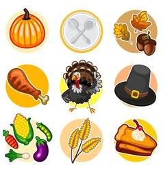 Happy Thanksgiving Sticker Icon Set vector image vector image