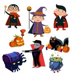 Kids Wearing Halloween Costumes vector image vector image