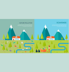 nature pollution and scavenge concept vector image