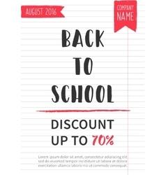 Back to school discount banner vector