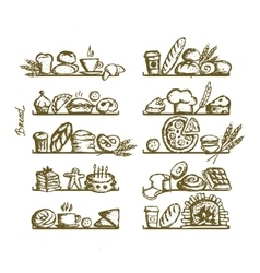 Bakery on shelves sketch for your design vector image vector image