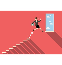 Business woman jumping to success vector image