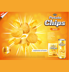 Chips ads cheese flavour explosion background vector