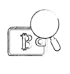 figure bitcoin symbon in the wallet with vector image vector image