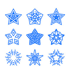 star logo template set blue geometric vector image vector image