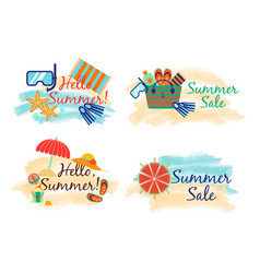 summer sale labels with sand and sea in watercolor vector image vector image