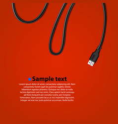 usb cable plug isolated background vector image
