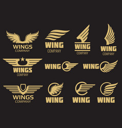 wings logo collection - golden auto wings logo vector image vector image