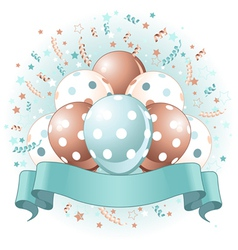 blue birthday balloons design vector image vector image