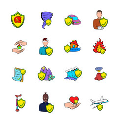 insurance icons set cartoon vector image