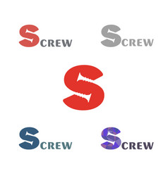 set a simple logo with a silhouette of the screw vector image