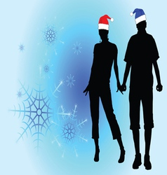 couple in love among the snowflakes vector image