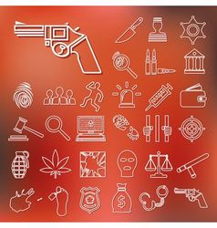 Crime and justice outline icons vector