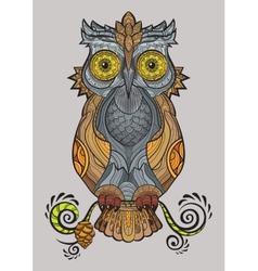 Decorative isolated owl on the branch vector image vector image