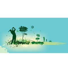 Golf Silhouettes in blue background vector image