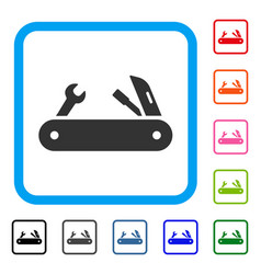 multi-tools knife framed icon vector image