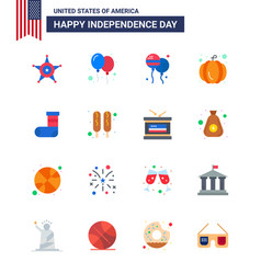 16 flat signs for usa independence day festivity vector