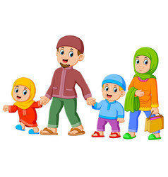 a family are walking for celebrating ied mubarak vector image