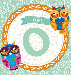ABC animals O is owl Childrens english alphabet vector image