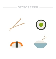 Asian food rice with chopsticks rolls and sushi vector