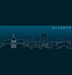 Atlanta multiple lines skyline and landmarks vector