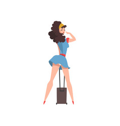 Back view of posing girl in short blue dress with vector