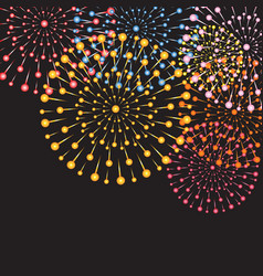 Background with colorful bright fireworks vector