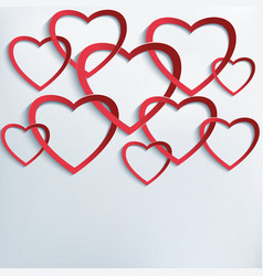 Background with cutting paper 3d hearts vector