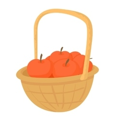 Basket with apples icon cartoon style vector