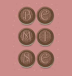 Be mine chocolate cookies with graceful decor vector
