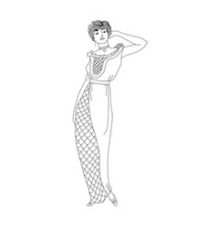 beautiful retro style woman vector image
