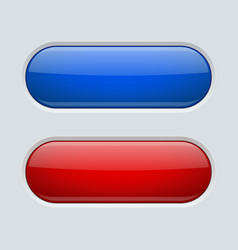 Blue and red oval buttons on gray plastic vector