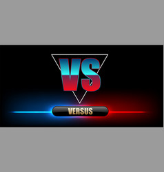blue neon versus logo vs letters for sports vector image