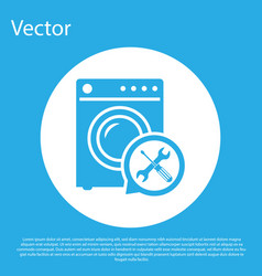 Blue washer with screwdriver and wrench icon vector